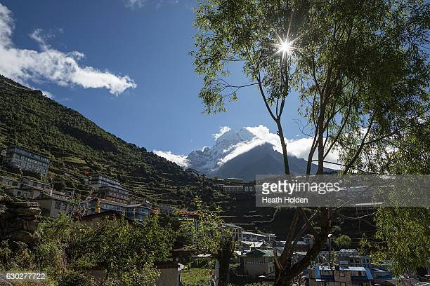 Blue skies and mountain view from high above Namche Bazar on the trail to Thame village on September 22 2016 in Namche Bazar Nepal The trails in the...