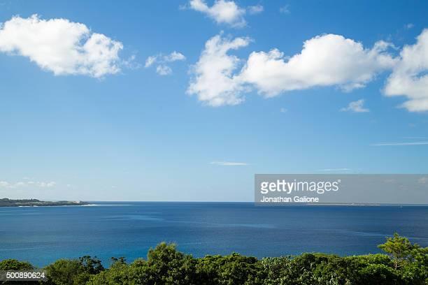 Blue skies over the ocean