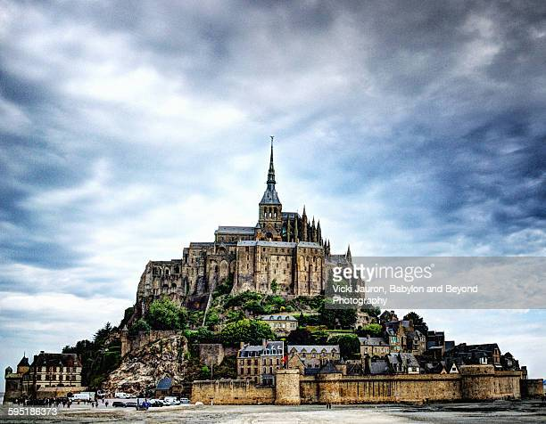 Blue sky and clouds at Mont St Michel, France