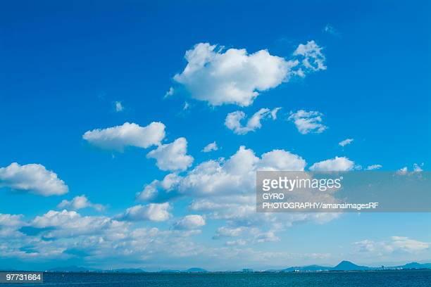 Blue sky and clouds over Lake Biwa, Otsu, Shiga Prefecture, Japan