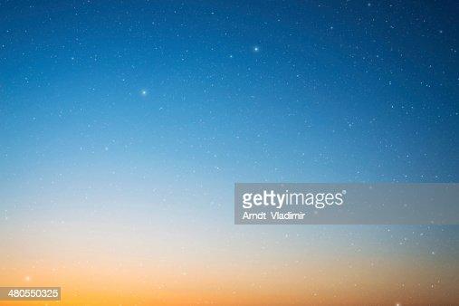 Blue sky and stars. : Stock Photo