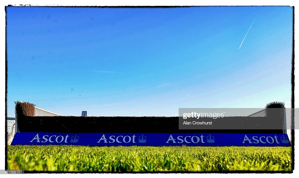 Blue sky and the last fence at Ascot racecourse on November 23, 2013 in Ascot, England.