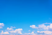 Blue sky and white heap clouds - background with big space for text
