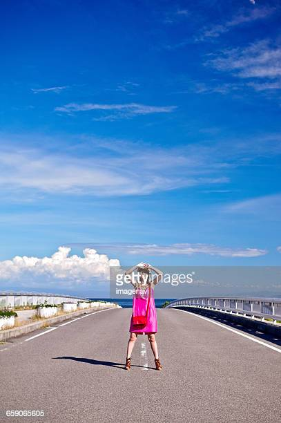 Blue sky and woman