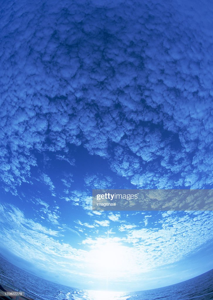 Blue sky from under water