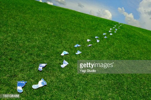 Blue sky in the footprint and lawn : Stock Photo