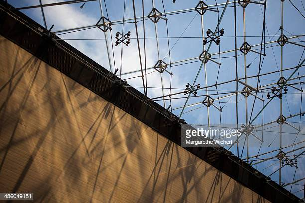 A blue sky is seen through the La Pyramide Inversee in the Carrousel du Louvre shopping mall on September 6 2013 in Paris France