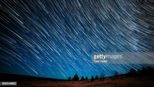 Blue Sky Moonlight Night Sky Star Trails Over Oregon