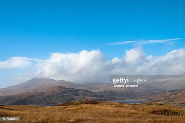Blue sky over autumn landscape, Loch Spelve, Isle of Mull