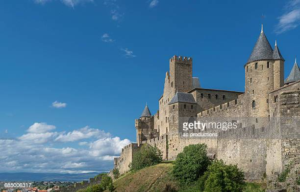 Blue sky over castle in Carcassonne, Languedoc-Roussillon, France