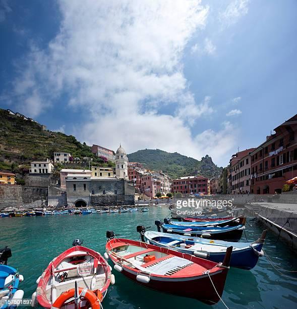 Blue sky over italian village of Vernazza in Cinque Terre