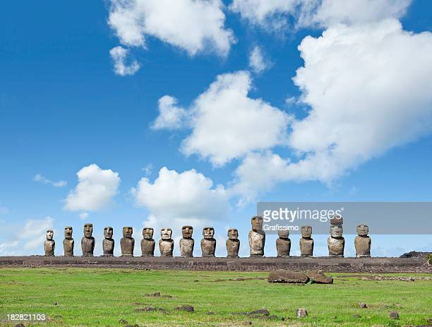 Blue sky over Moai at Ahu Tongariki Easter Island Chile