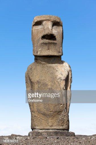 Blue sky over Moai at Ahu Tongariki Easter Island Chile