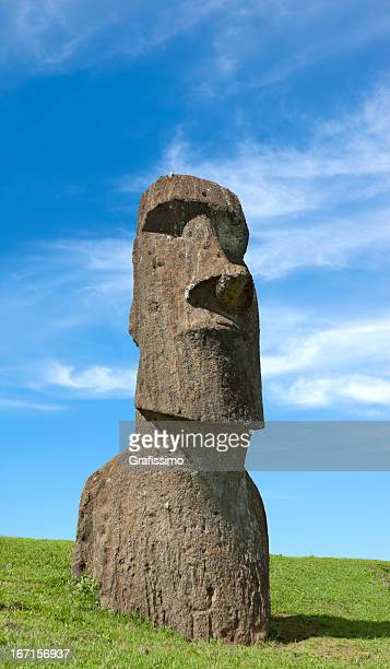 Blue sky over Moai at Easter Island Chile