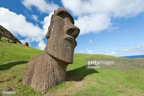 Blue sky over Moai at Easter Island