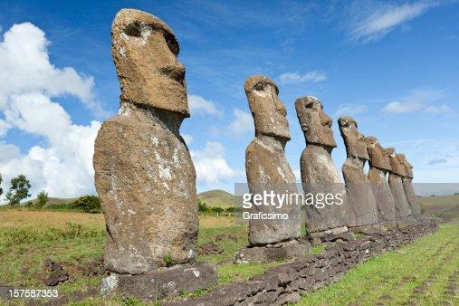 Blue sky over Moai at Hanga Roa Easter Island Chile