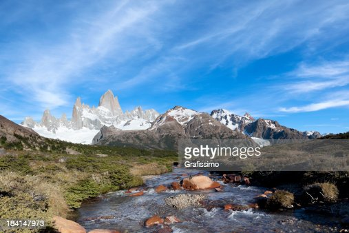 Blue sky over Mount Fitz Roy in Argentina Patagonia