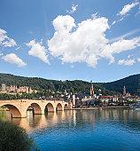 Blue sky over Old Bridge in Heidelberg Germany