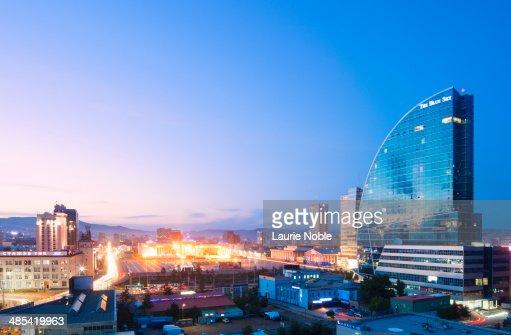 Blue Sky Tower and Ulaanbaatar at dusk, Mongolia