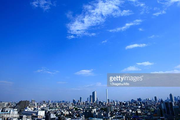 Blue sky with clouds and cityscape