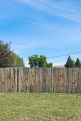 Blue Sky Wood Fence Green Grass