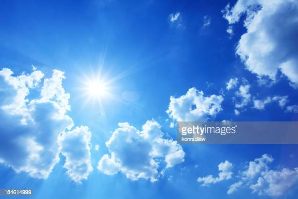 Blue Sky - XXXL Image of Sun Shining Between Clouds