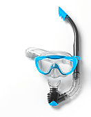 Blue snorkel with swimming goggles.
