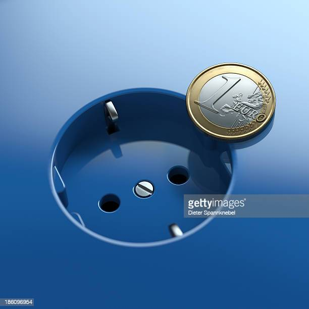 Blue socket with euro coin