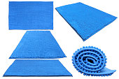 Blue soft bathroom carpet different possitions