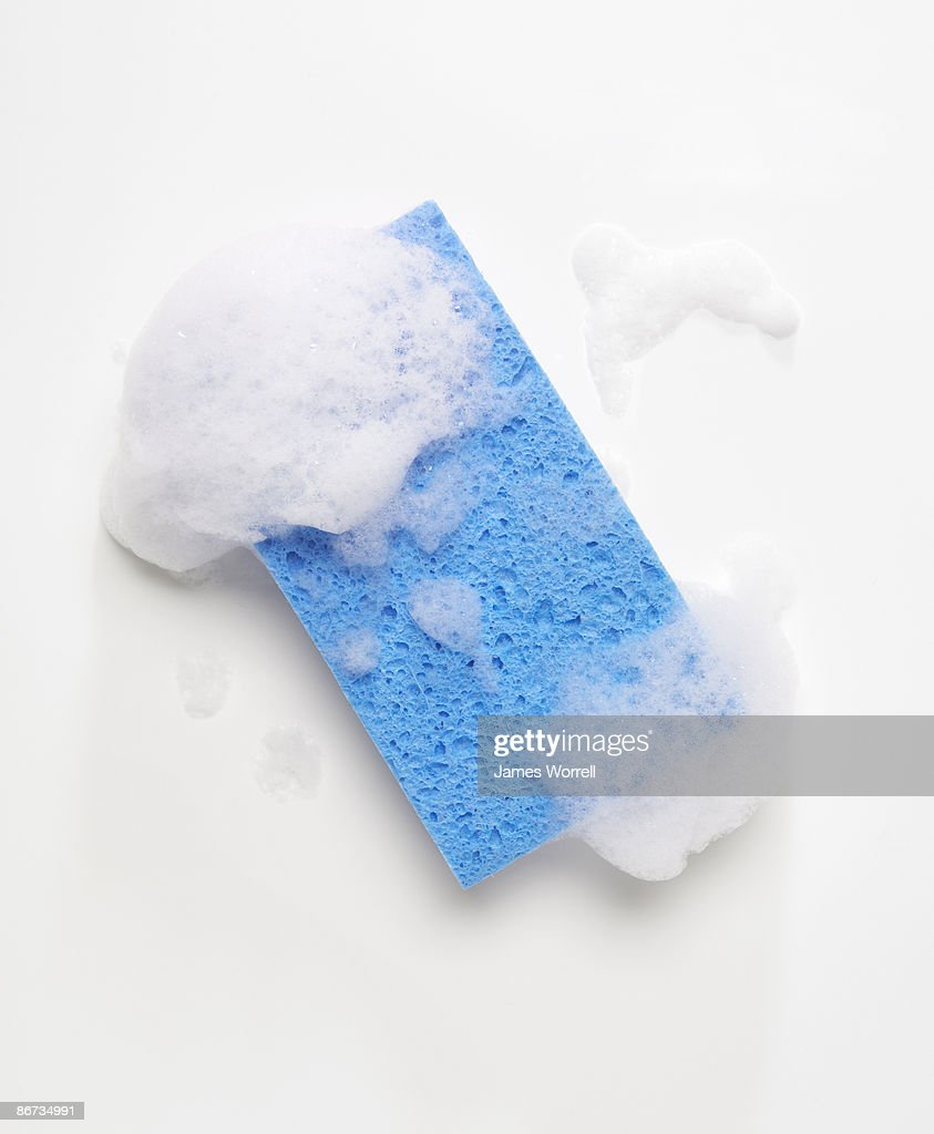 Blue Sponge with Soap Suds