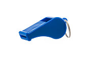 Blue sport whistle isolated on white background