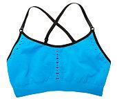 Blue sports bra on white