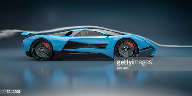 Blue Sports Car in a Wind Tunnel