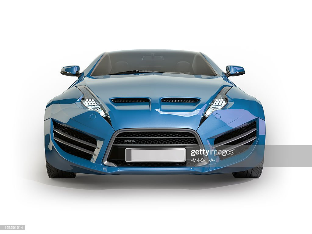 Incroyable Blue Sports Car Isolated On White Background : Stock Photo