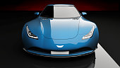blue sports car on black background, photorealistic 3d render, generic design, non-branded