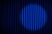 Blue Velvet Movie Curtains with Round Spotlight.