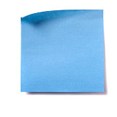 Blue square sticky post note isolated on white