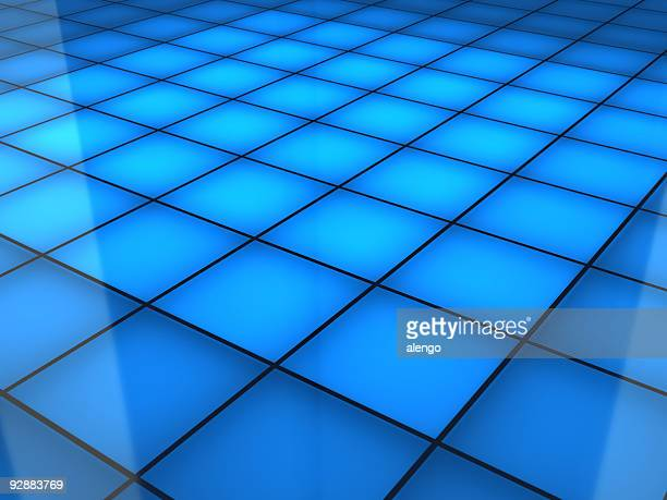 A blue squared dance floor background