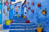 Blue coloured medina in Chefchaouen, Morocco.