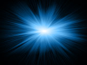 Conceptual image representing blue star light concept on the black background