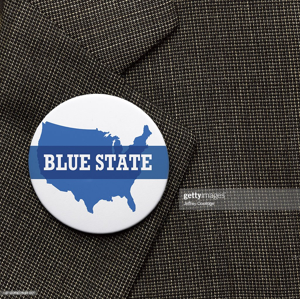 Blue State election button on jacket, close-up : Stock Photo