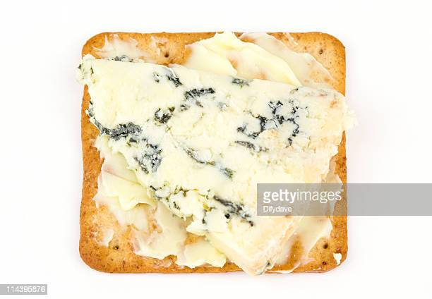 Blue Stilton Cheese On Buttered Biscuit