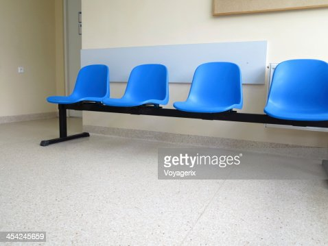 Blue stools in the waiting room : Stock Photo