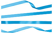 Blue Straight Twisted and Curled Satin Isolated Ribbon Strips
