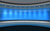 Blue backdrop. 3d rendering
