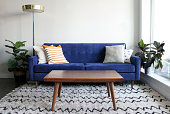 Low angle shot of a royal blue suede mid century modern 4 seater sofa and teak coffee table. Set in a modern apartment living room complete with mid century furnishings, moroccan rug and potted plants