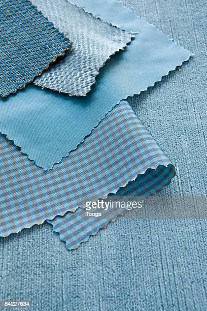 Blue swatches of fabric