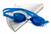 Glasses and cap for swimming on a white background