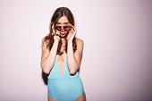 Blue swimsuit sunglasses