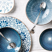 Blue table ware plates and bowls overhead
